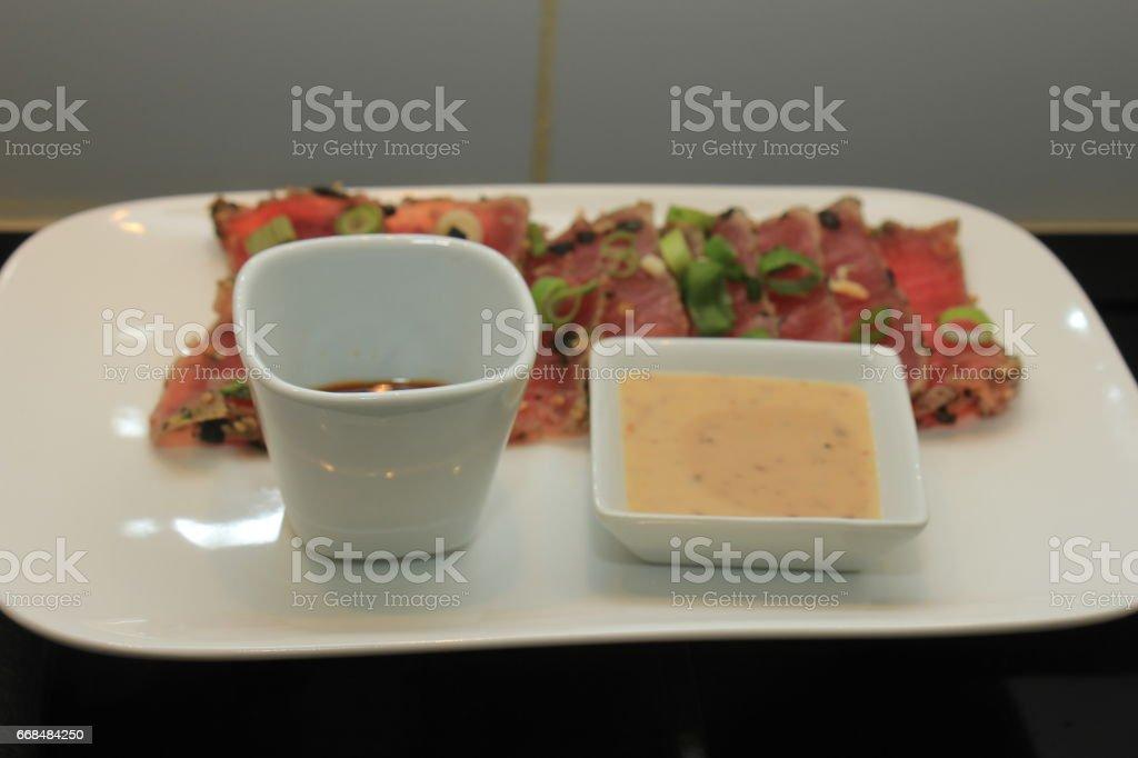 Sashimi: raw tuna fish stock photo