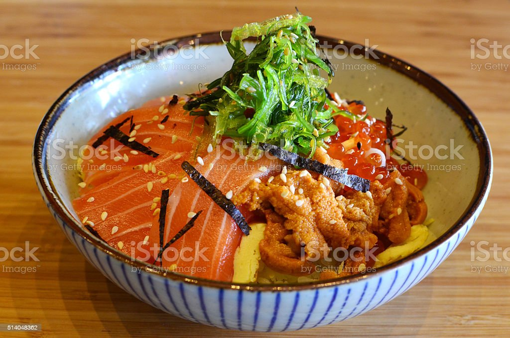 Sashimi rice bowl stock photo