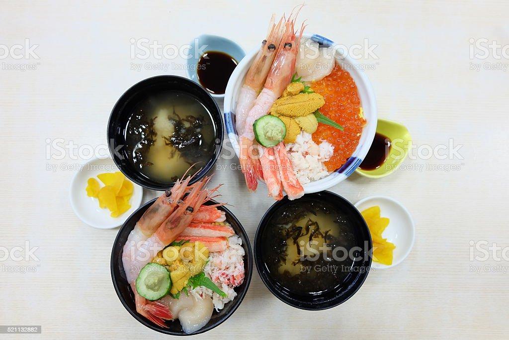 Sashimi Rice Bowl stock photo