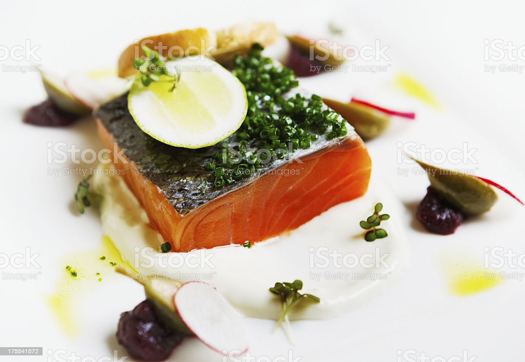 Sashimi with micro herbs on platter royalty-free stock photo
