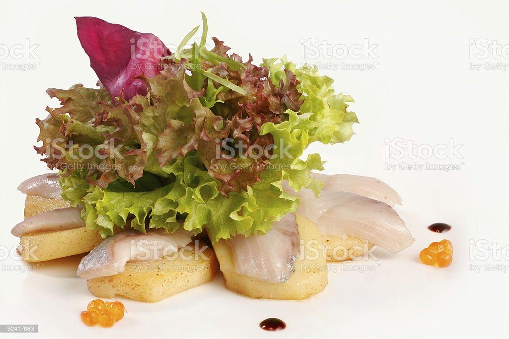 Sashimi with salad royalty-free stock photo
