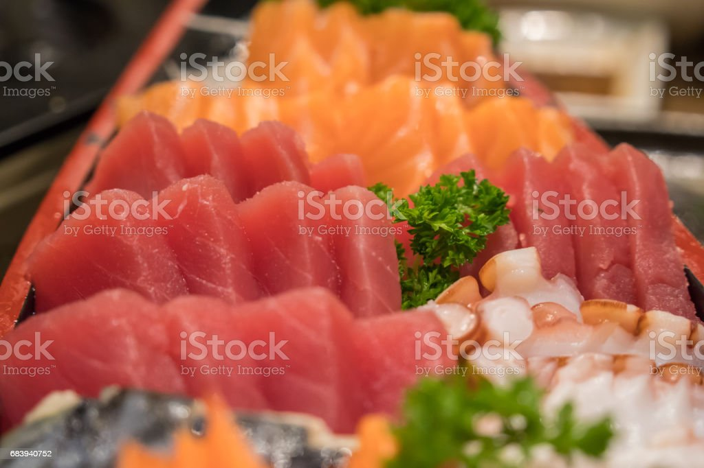 Sasimi Salmon Tuna Japanese food stock photo