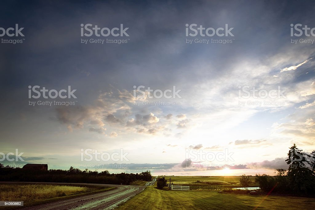 Saskatchean Storm Sunset royalty-free stock photo