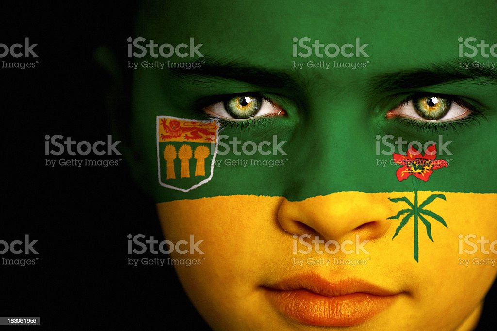 Saskatchewan Canadian Flag Boy stock photo
