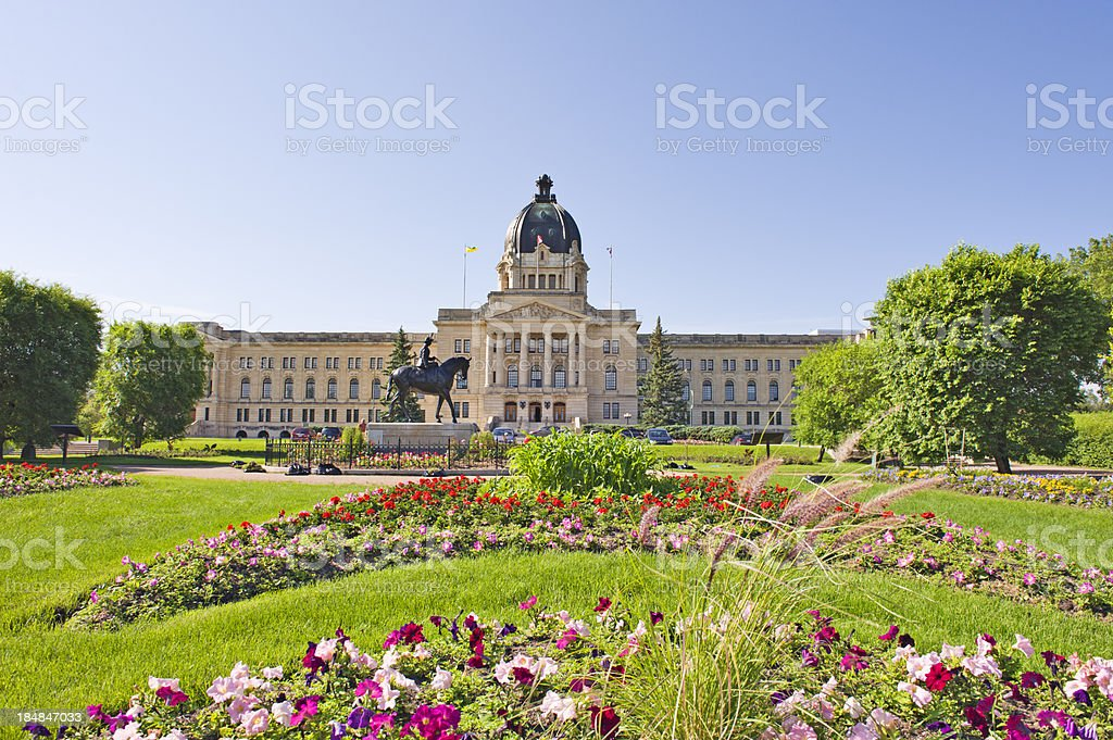 Saskatchewan Legislative building and grounds, Regina Canada stock photo