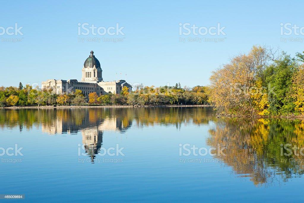 Saskatchewan Legislative Building autumn reflections in Wascana Lake stock photo