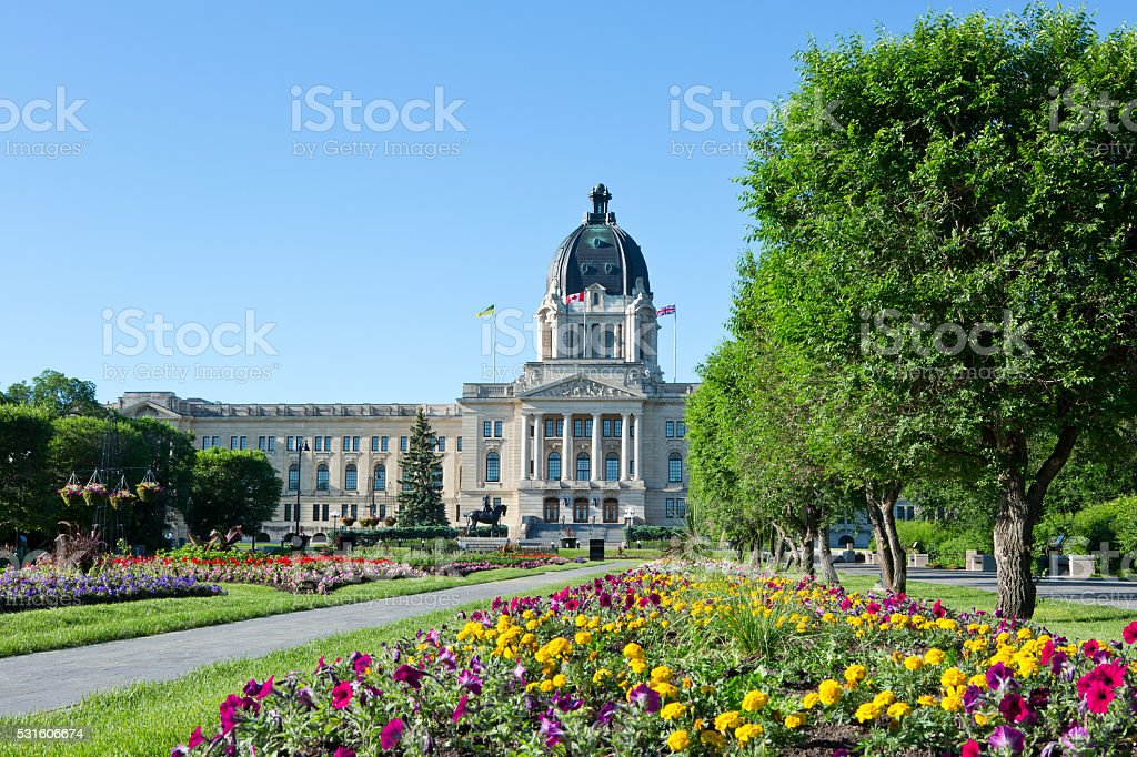 Saskatchewan Legislative Building Flower Garden stock photo