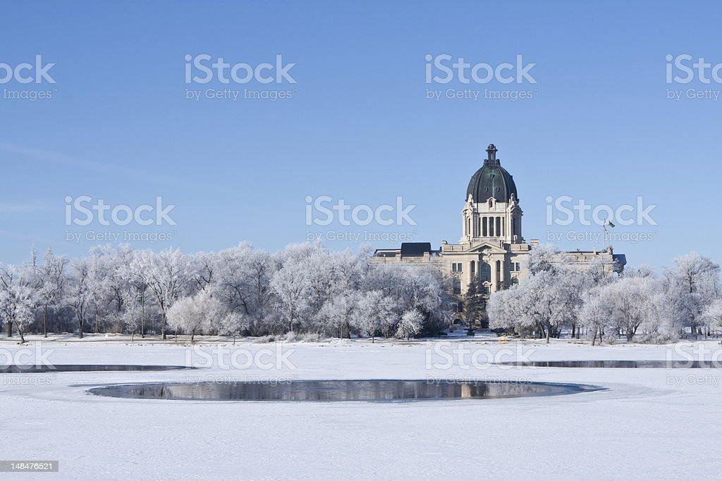 Saskatchewan Legislative Building in Regina during winter stock photo