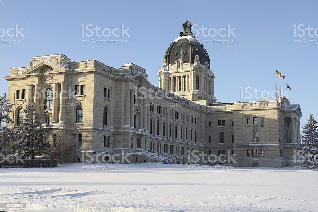 Saskatchewan Legislative Building in the Winter stock photo