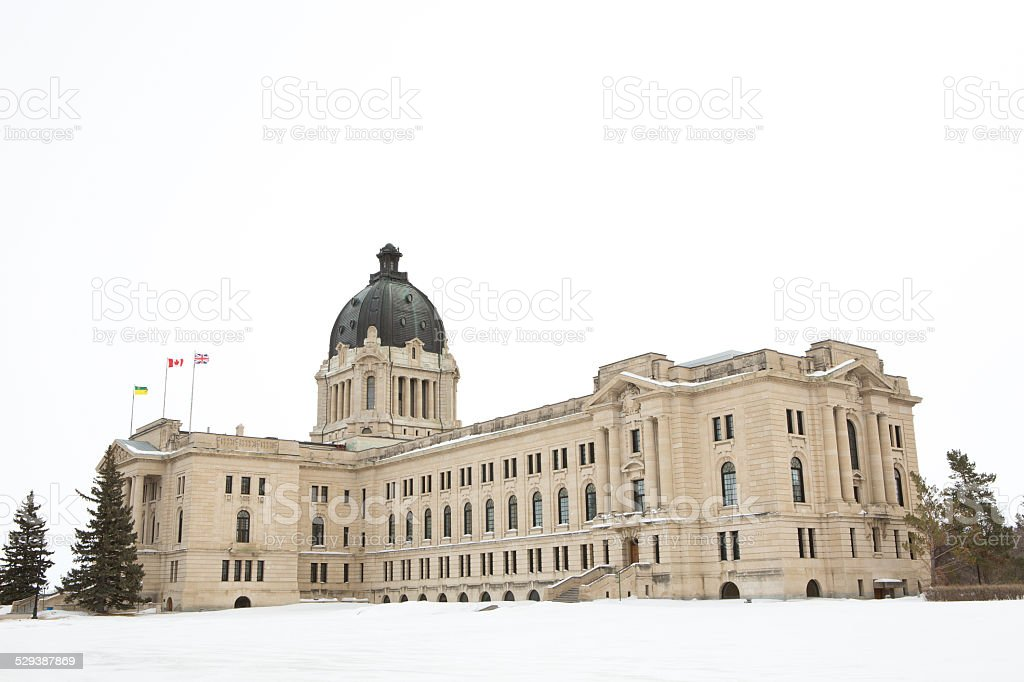 Saskatchewan Legislative Building in winter in Regina Saskatchewan Canada stock photo