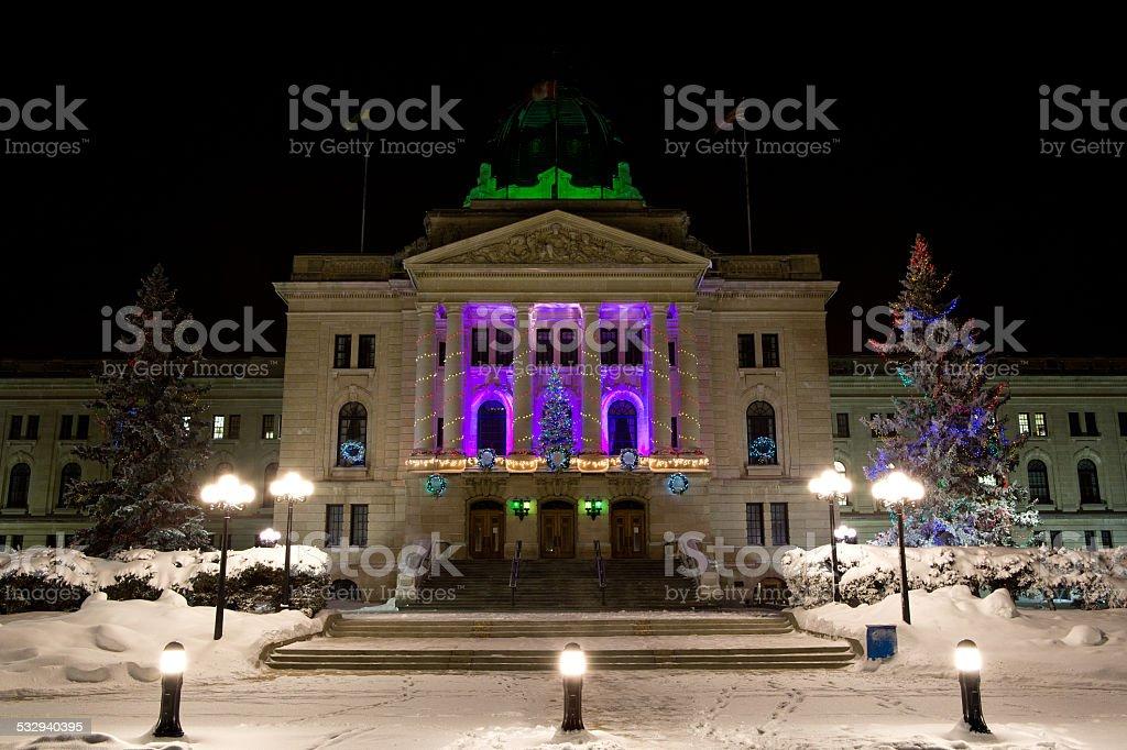 Saskatchewan Legislative Building with purple Christmas lights stock photo