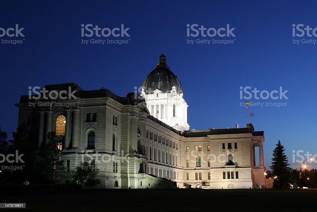 Saskatchewan Legislature at Night stock photo