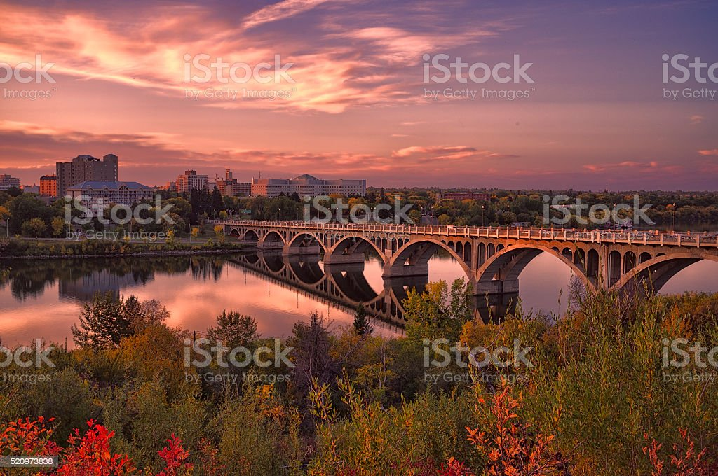 Saskatoon Autumn Sunset stock photo