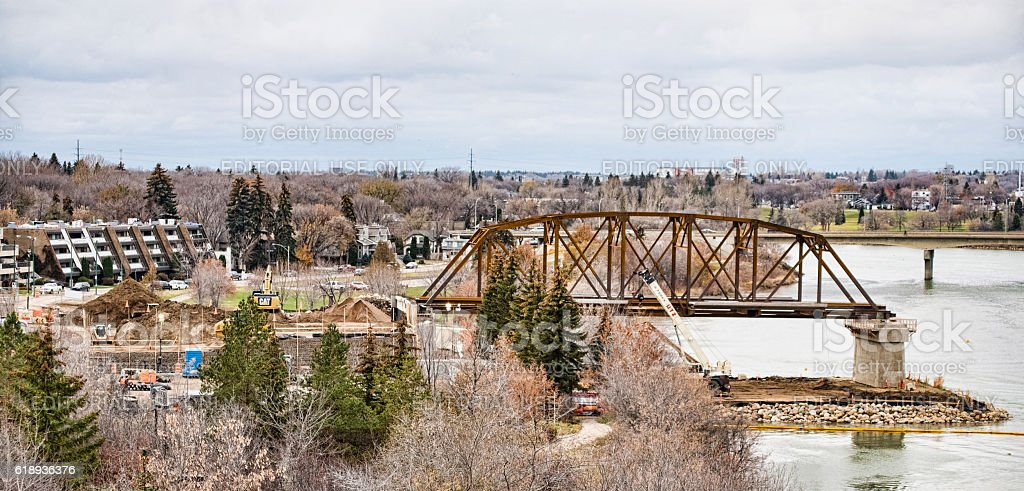 Saskatoon Bridge Under Construction stock photo