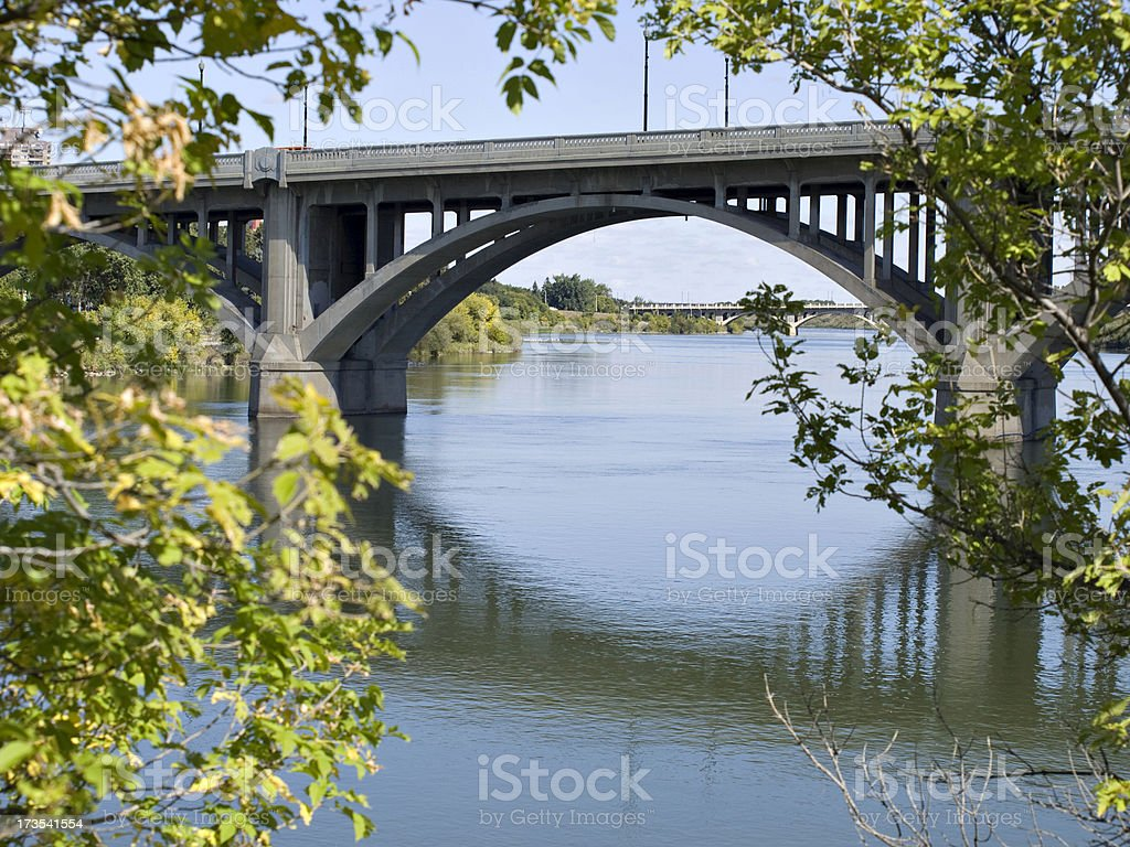 Saskatoon Bridges Along South Saskatchewan River royalty-free stock photo