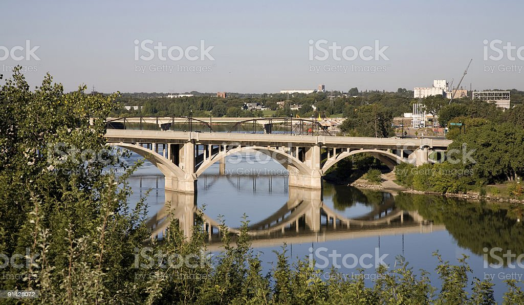 Saskatoon Bridges in Early Morning stock photo