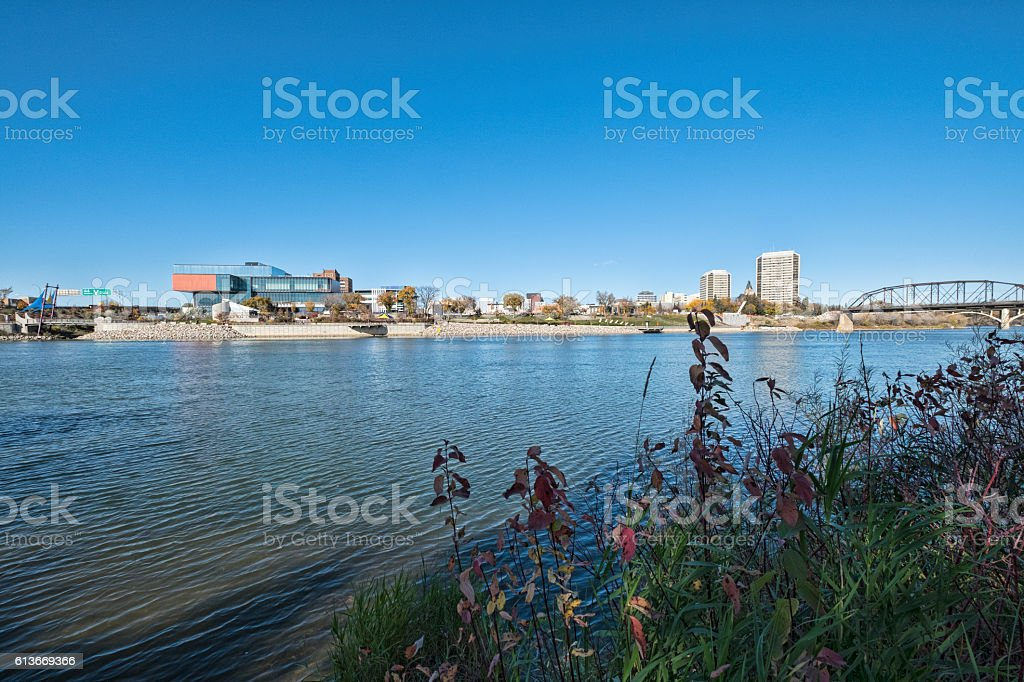 Saskatoon Cityscape Along the South Saskatchewan River stock photo