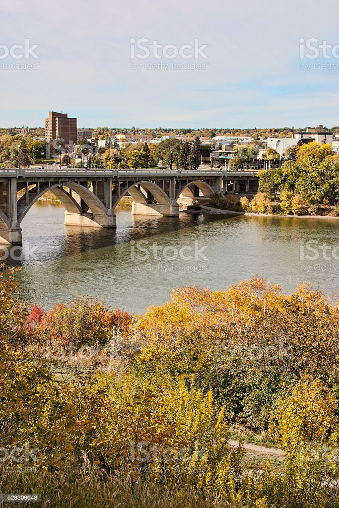 Saskatoon Cityscape and Bridge in Early Autumn stock photo