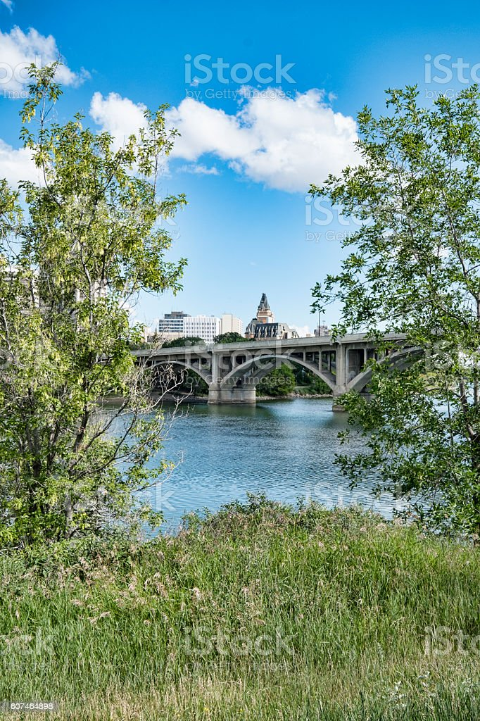 Saskatoon Cityscape with Broadway Bridge stock photo