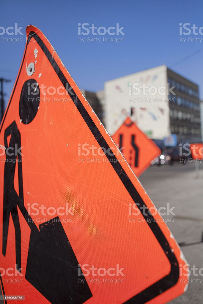 Saskatoon Downtown Roadd Construction Sign royalty-free stock photo
