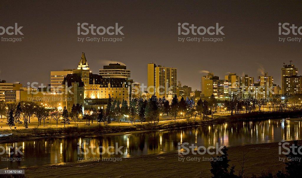 Saskatoon Downtown Skyline at Night in Winter royalty-free stock photo
