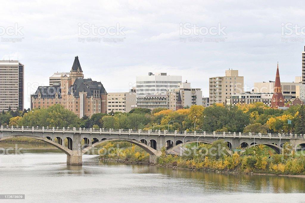 Saskatoon Downtown Skyline with Bridge Hotels and Condominiums stock photo