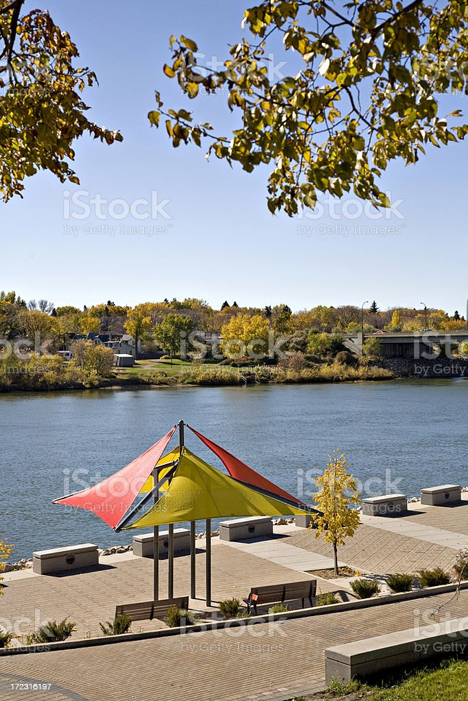 Saskatoon Downtown Walking Path By River stock photo