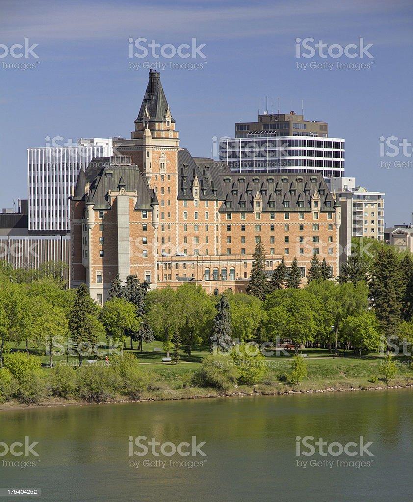 Saskatoon Hotel on Riverbank in Summer royalty-free stock photo