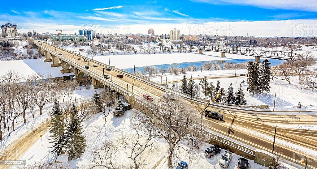 Saskatoon in Winter stock photo