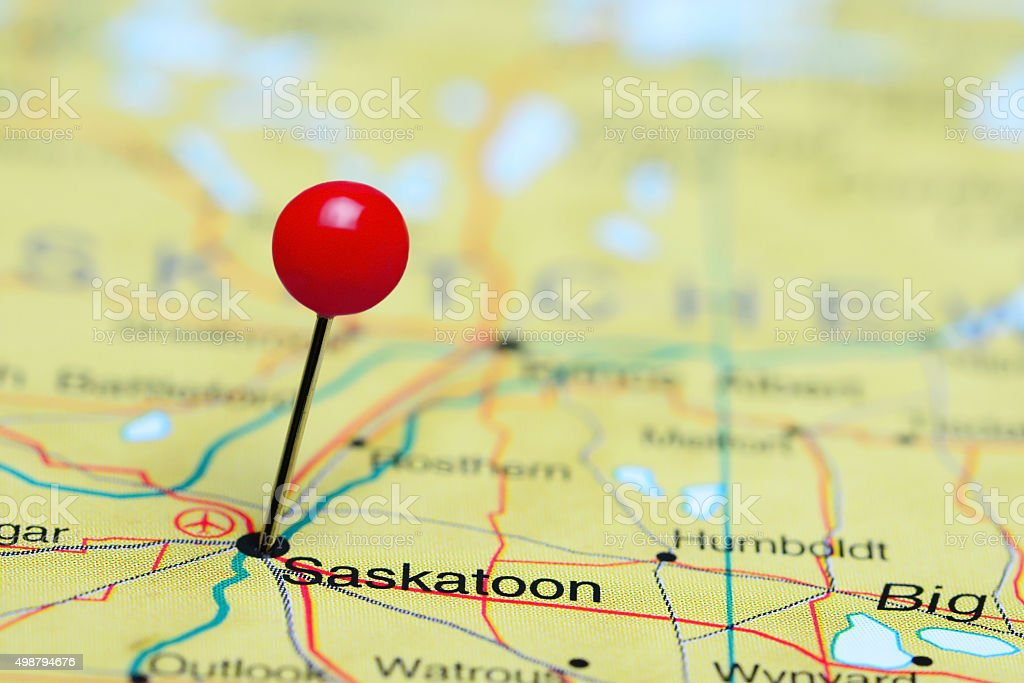 Saskatoon pinned on a map of Canada stock photo