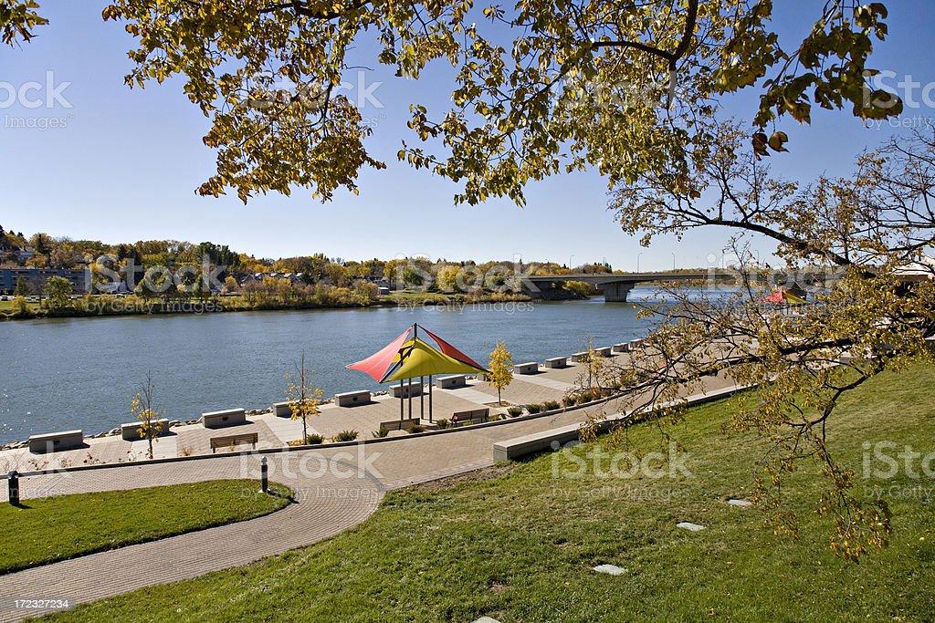 Saskatoon River Landing in Autumn royalty-free stock photo