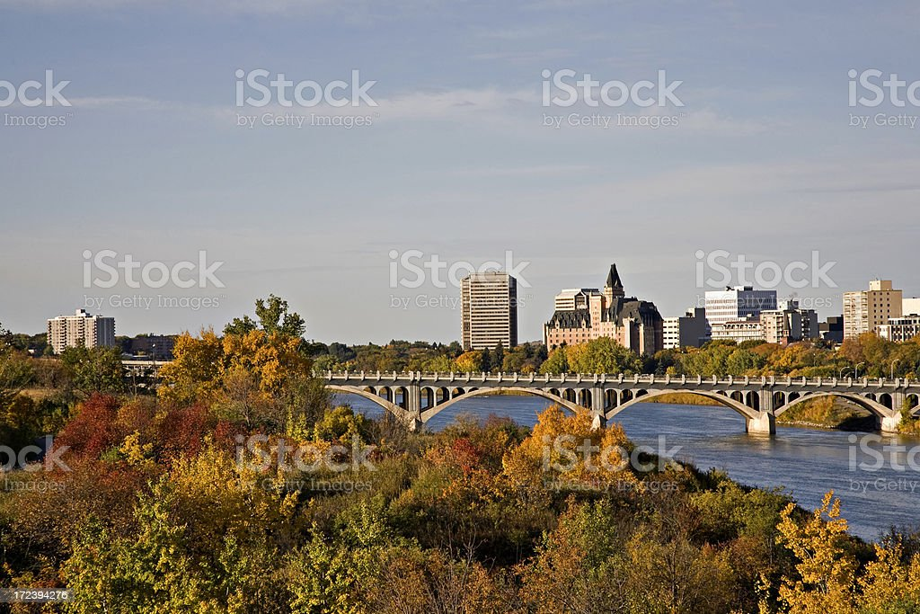 Saskatoon River Valley in Fall Colors stock photo