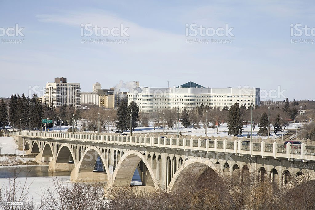 Saskatoon Riverbank, Bridge and City Hospital stock photo