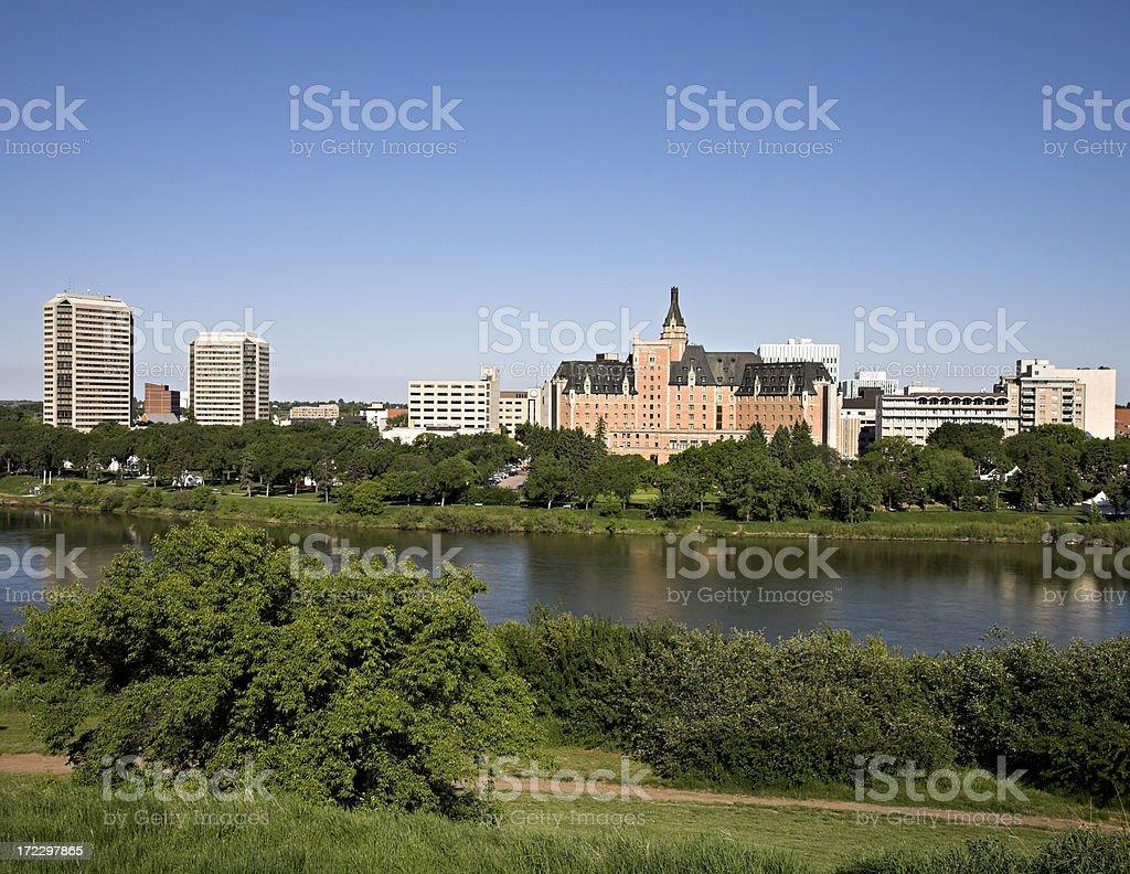Saskatoon Riverbank in Summer royalty-free stock photo