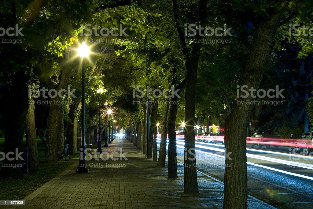 Saskatoon Riverbank Light Trails royalty-free stock photo