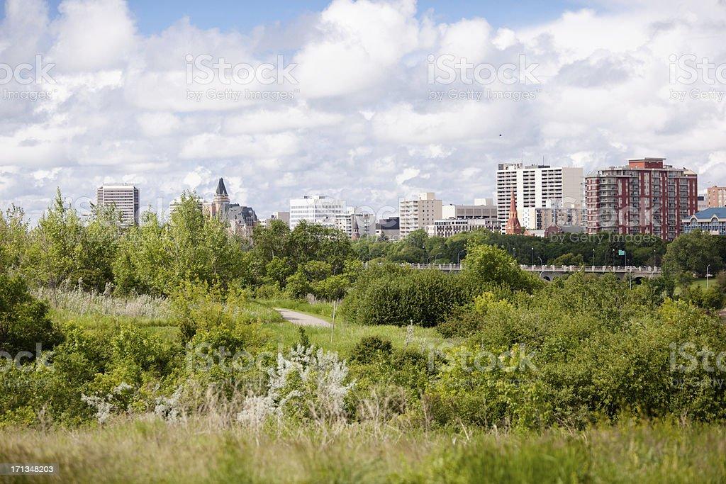 Saskatoon Riverbank Seen From Meewasin Trail royalty-free stock photo