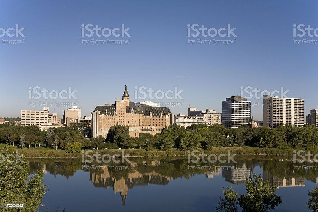 Saskatoon Riverbank With Bessborough Hotel royalty-free stock photo