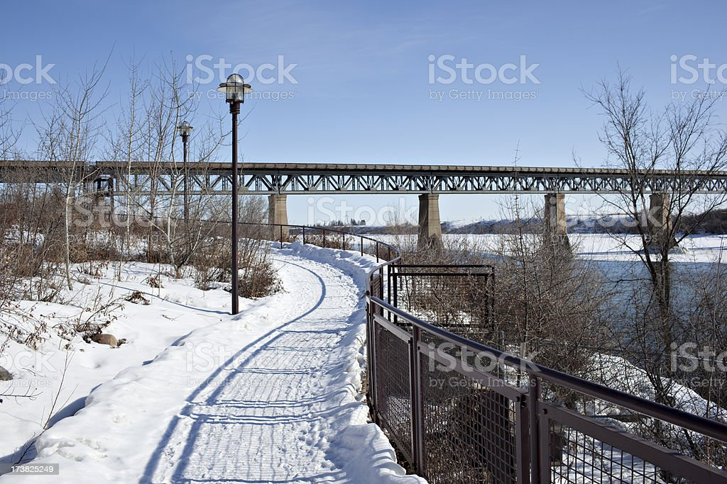 Saskatoon Riverside Walking Path In Winter stock photo