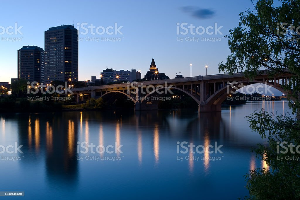 Saskatoon Skyline at Dusk stock photo