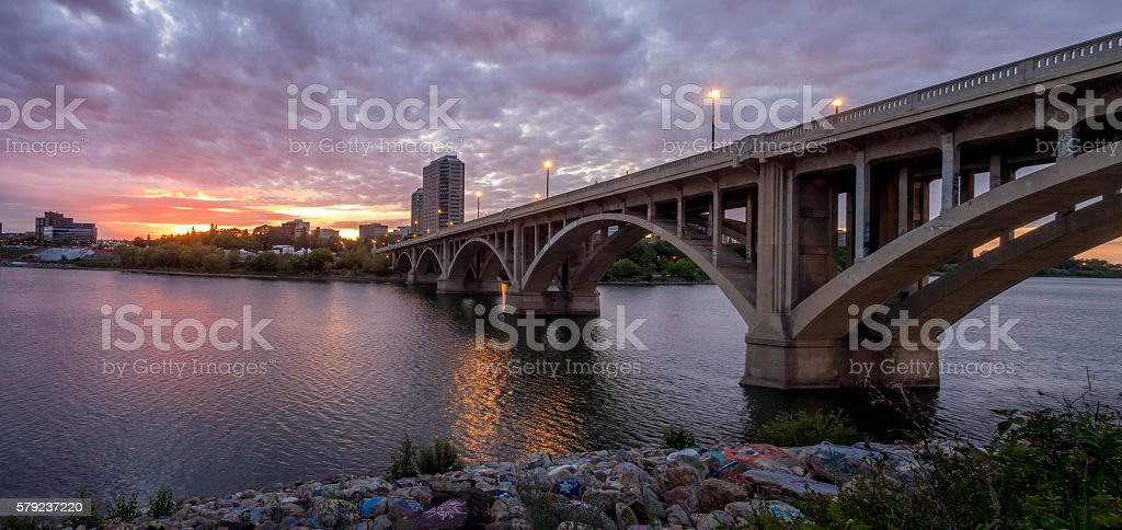 Saskatoon skyline at sunset stock photo