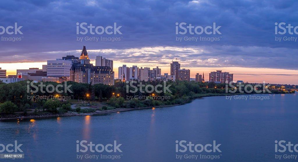 Saskatoon skyline in summer stock photo