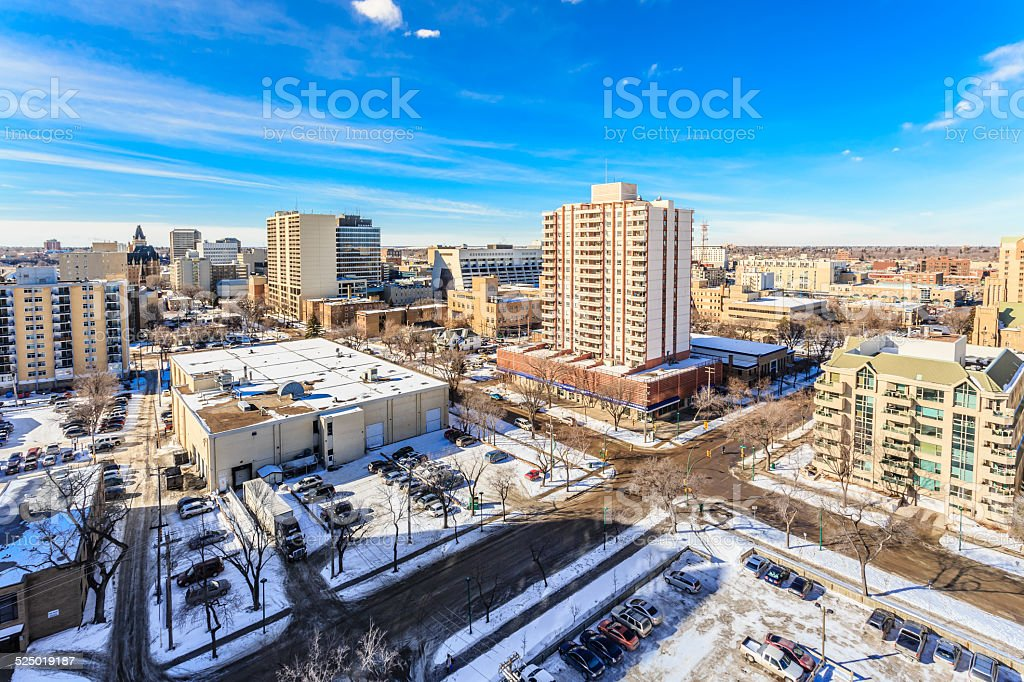 Saskatoon skyline in Winter stock photo