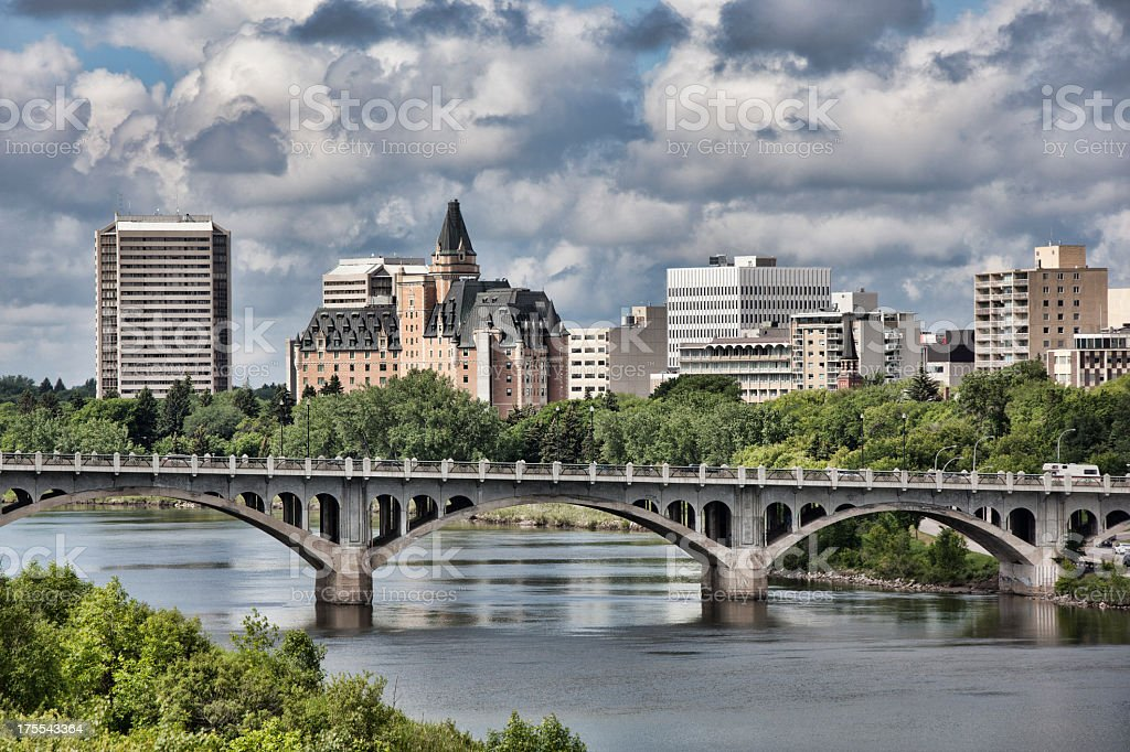 Saskatoon skyline with broad view of the University Bridge stock photo