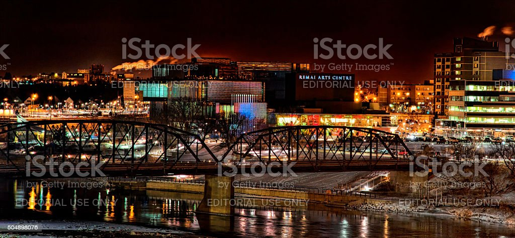 Saskatoon Traffic Bridge and Art Gallery at Night stock photo