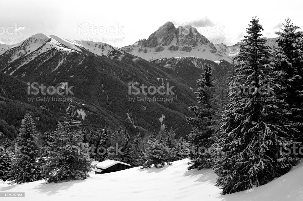 Sass de Putia mountain in black and white royalty-free stock photo