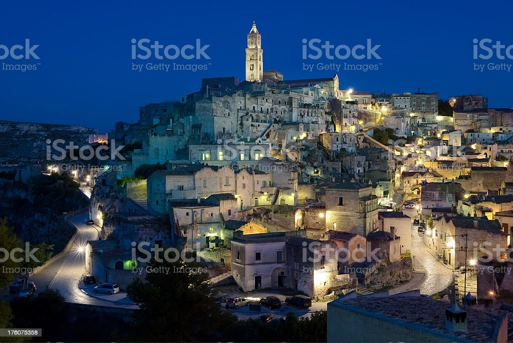 Sassi di Matera at dusk in Basilicata, Italy stock photo