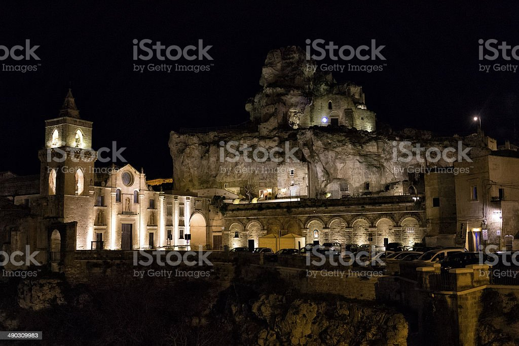 Sassi Matera by Night royalty-free stock photo