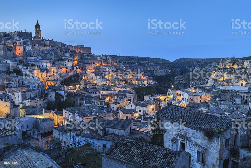 Sassi of Matera at night. stock photo