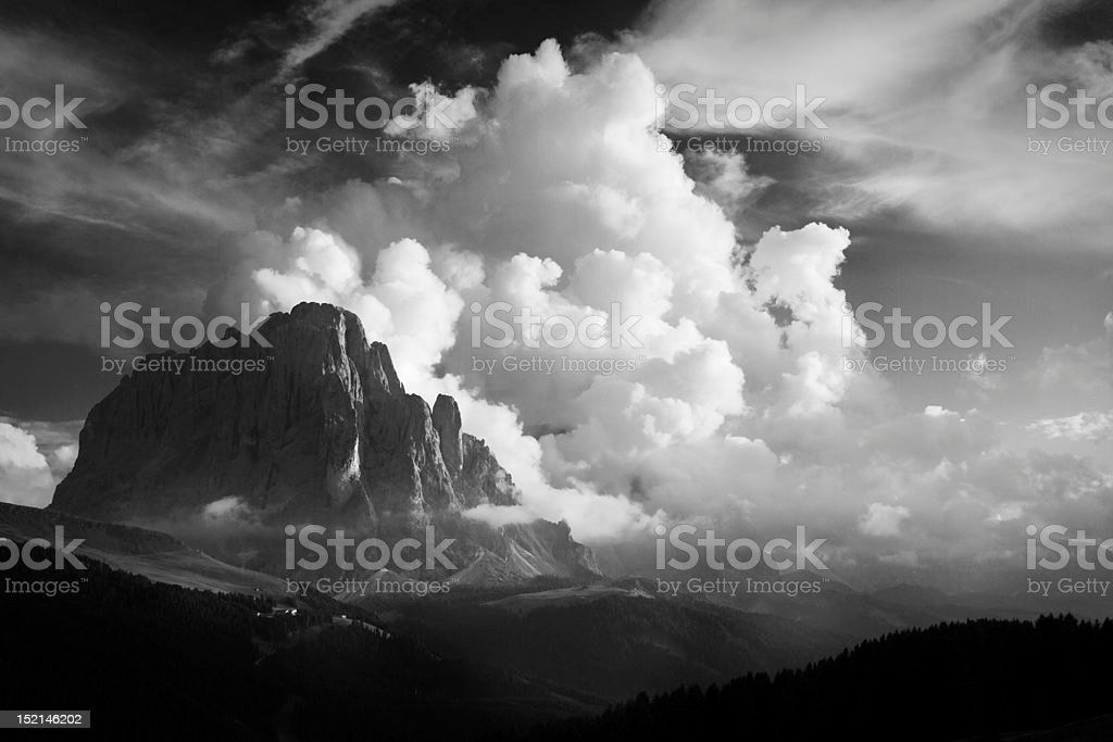 Sasslong and Mountain Clouds stock photo
