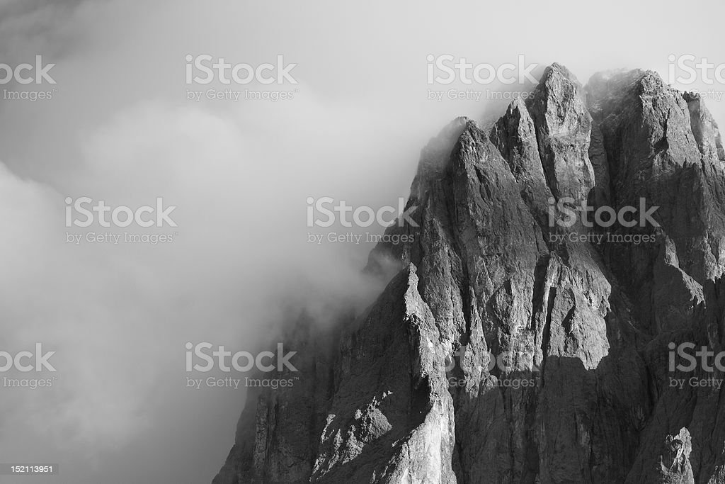 Sasslong immersed in clouds stock photo